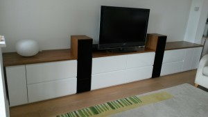 White high gloss media unit with teak tops